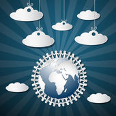 People Holding Hands Around Globe with Paper Clouds — Stock vektor