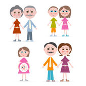 Family Members Illustration Isolated on white Background — Stock Vector