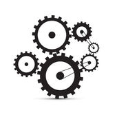 Cogs - Gears Black Illustration on White Background — Stock Vector