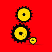 Cogs - Gears Illustration on Red Background — Stock Vector