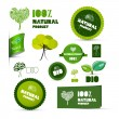Natural Product Green Labels - Tags - Stickers Set — Stock Vector