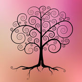 Abstract Vector Black Tree Illustration on Violet - Pink - Orange Blurred Background  — Stockvektor