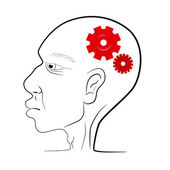 Man Head Vector Illustration With Red Cogs - Gears — Wektor stockowy