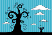 Abstract Vector Black Trees Illustration with Clouds on Blue Cardboard Background — Stock Vector