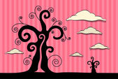 Abstract Vector Black Trees Illustration with Clouds on Pink Cardboard Background — Stock Vector