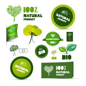 Natural Product Green Labels - Tags - Stickers Set  — Stok Vektör