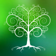 Abstract Vector White Tree Illustration on Green Blurred Background — Stockvektor