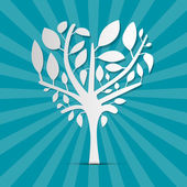 Abstract Heart Shaped Tree on Blue Retro Background — Vettoriale Stock
