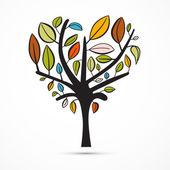 Cuore astratte colorate a forma di albero su sfondo bianco — Vettoriale Stock