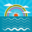 Ocean Abstract Retro Vector Illustration with Sun, Birds, Rainbow — Stock Vector