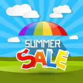 Illustration de vente de l'été avec parasol coloré - parapluie, nuages et l'herbe verte — Vecteur