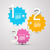 One, two, three, - vector progress steps for tutorial - infographics  — Stock Vector