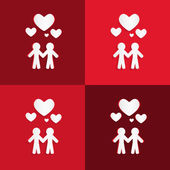Paper People Holding Hands with Hearts on Red Background — Stock Vector