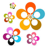 Abstract Vector Retro Flowers Set Isolated on White Background — Stock Vector