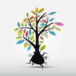 Abstract Tree Vector Illustration Isolated on Grey Background — Stock Vector