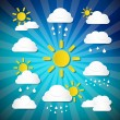 Vector Weather Icons - Clouds, Sun, Rain on Retro Blue Background — Vector de stock