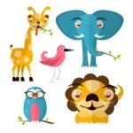 Vector Animals Illustration - Giraffe Owl Bird Lion and Elephant — Stock Vector #43352293