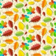 Colorful Vector Seamless Leaves Pattern with Hand Drawn Fruit Background — Stock Vector #43355085