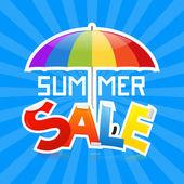 Summer Sale Vector Illustration on Retro Blue Background — Stock Vector
