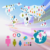 Vector People on Paper World Map - Social Media Connection Symbols - Infographics — Stock Vector