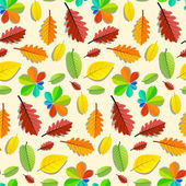 Colorful Vector Seamless Leaves Pattern — Stockvektor