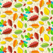 Colorful Vector Seamless Leaves Pattern with Hand Drawn Fruit Background — Stock Vector