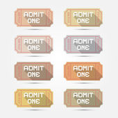 Vector Paper Admit One Ticket Illustration Set — Stock Vector