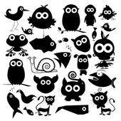 Black Vector Animals Silhouette Set — Stock Vector