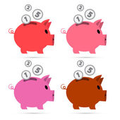 Vector Piggy Bank Set Isolated on White Background  — Stock Vector