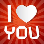 I Love You Title and Paper Heart on Red Background — Stockvector