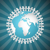 Vector People Holding Hands Around Globe  — Stock Vector