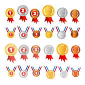 Vector Medals Set: Gold, Silver, Bronze, First, Second, Third — Stock Vector