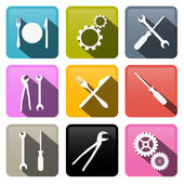 Retro Vector Buttons: Cogs, Gears, Screwdriver, Pincers, Spanner, Hand Wrench Tools, Knife, Fork  — Stock Vector