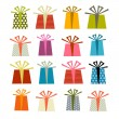 Retro Vector Gift Boxes Set Illustration Isolated on White Background  — Vettoriale Stock  #43766233