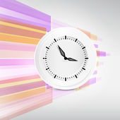 Vector Paper Clock on Modern Abstract Background Illustration — Stock Vector