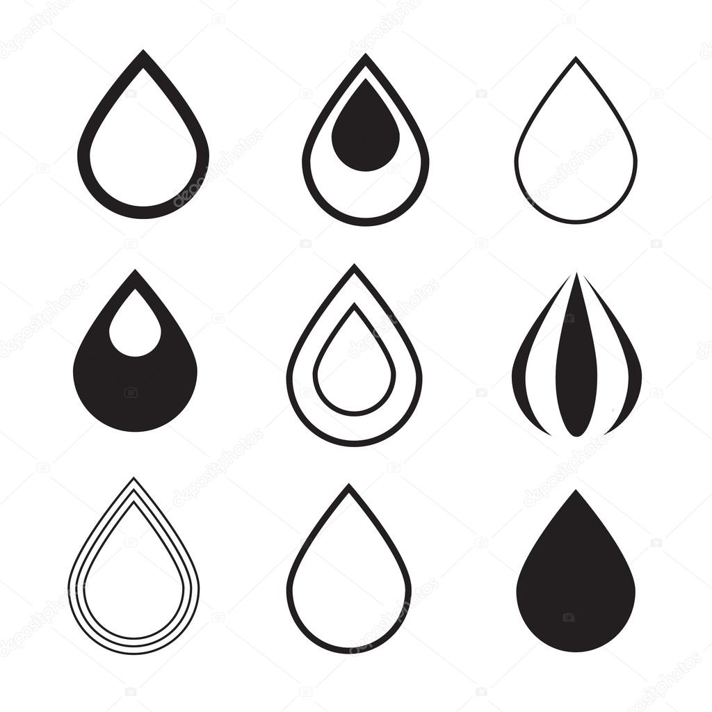 Black Vector Water Drops Icons Set Isolated on White ...