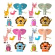 Vector Animals Illustration Set - Giraffe Owl Bird Lion and Elephant — Stock Vector #44116003