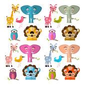 Vector Animals Illustration Set - Giraffe Owl Bird Lion and Elephant — Stock Vector