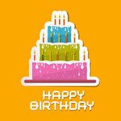 Orange Birthday Background Illustration with Cake  — Stock Vector