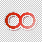Red Paper Vector Infinity Symbol on Transparent Background — Stock Vector