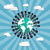 Ludzi, trzymając się za ręce na całym świecie — Wektor stockowy