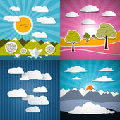 Nature Paper Illustration Set - Mountains, Meadow, Sky and River — Stock Vector