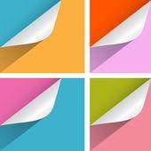 Papel colorido doblada esquinas ilustración conjunto — Vector de stock