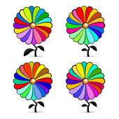 Vector colorido retro abstracto flores conjunto ilustración — Vector de stock