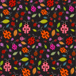 Seamless Pattern with Ladybirds and Leaves on Black Background — Stock Vector