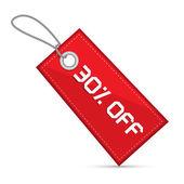 Kırmızı indirimli satış kağıt etiket dışı yüzde otuz, dizeleri ile etiket — Stok Vektör