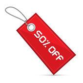Kırmızı indirimli satış kağıt etiket dışı yüzde elli, dizeleri ile etiket — Stok Vektör
