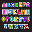 Colorful Funny Alphabet Set Isolated on Black Background — Stock Vector #44936001