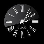 Retro White Abstract Clock Illustration on Black Background — Stock Vector