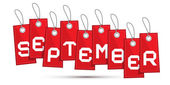 Eylül kırmızı indirimli satış kağıt etiket, dizeleri ile etiket — Stok Vektör